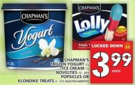 Chapman's Frozen Yogurt Or Ice Cream Or Novelties Or Popsicles Or Klondike Treats