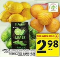 Lemons Or Limes Or Florida Red Grapefruit