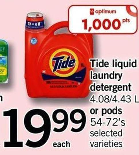 Tide Liquid Laundry Detergent - 4.08/4.43 L Or PODS - 54-72's