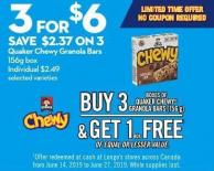 Quaker Chewy Granola Bars 156g Box