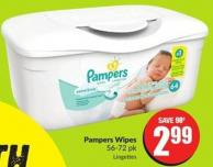 Pampers Wipes 56-72 Pk