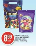 Cadbury Mini Eggs (400g) - Waterbridge Mega Mix Sour or Sweet Bags (900g)
