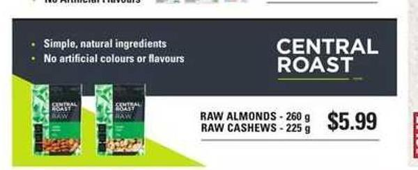 Raw Almonds - 260 g and Raw Cashews - 225 G