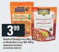 Seeds Of Change Rice 240 g Or Uncle Ben's Rice 365-460 g