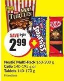 Nestlé Multi-pack 160-200 g Cello 140-195 g or Tablets 140-170 g