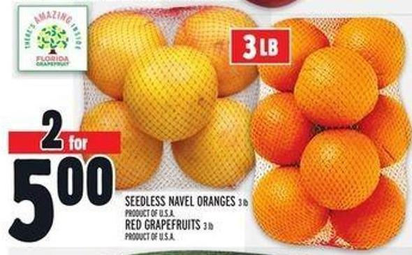 Seedless Navel Oranges 3 Lb or Red Grapefruits 3 Lb