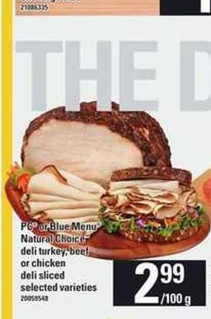 PC Or Blue Menu Natural Choice Deli Turkey - Beef Or Chicken