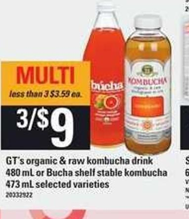 Gt's Organic & Raw Kombucha Drink 480 Ml Or Búcha Shelf Stable Kombucha 473 Ml