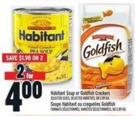 Habitant Soup Or Goldfish Crackers