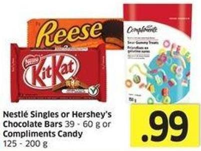 Nestlé Singles or Hershey's Chocolate Bars 39 - 60 g or Compliments Candy 125 - 200 g