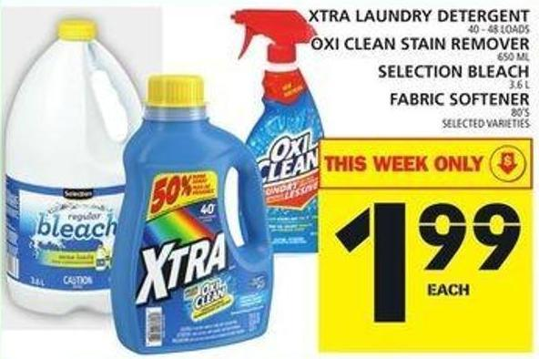 Xtra Laundry Detergent Or Oxi Clean Stain Remover Or Selection Bleach Or Fabric Softener