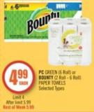 PC Green (6 Roll) or Bounty (2 Roll - 6 Roll) Paper Towels