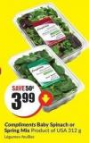 Compliments Baby Spinach or Spring Mix Product of USA - 312 g
