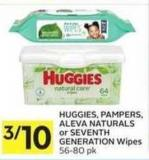 Huggies - Pampers - Aleva Naturals or Seventh Generation Wipes