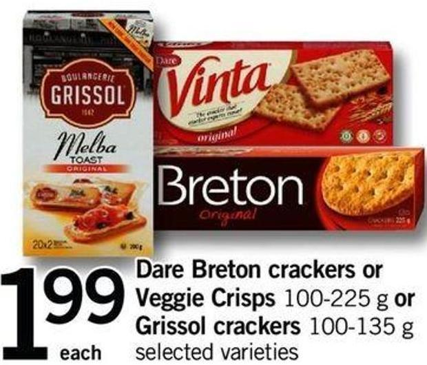Dare Breton Crackers Or Veggie Crisps - 100-225 G Or Grissol Crackers - 100-135 G