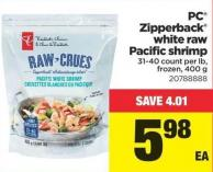 PC Zipperback White Raw Pacific Shrimp - 400 g - 31-40 Count Per Lb