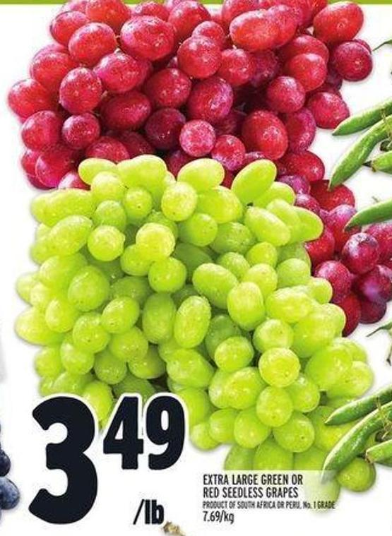Extra Large Green or Red Seedless Grapes