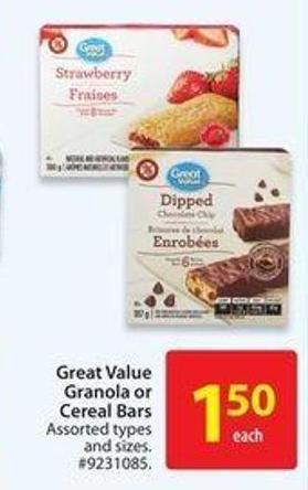 Great Value Granola or Cereal Bars