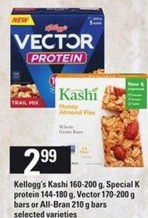 Kellogg's Kashi - 160-200 g - Special K Protein 144-180 g - Vector - 170-200 g Bars Or All-bran - 210 g Bars