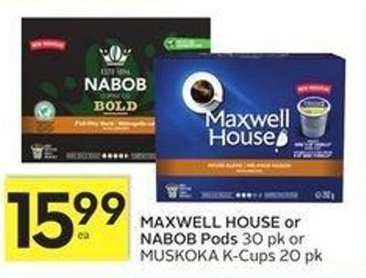 Maxwell House or Nabob Pods