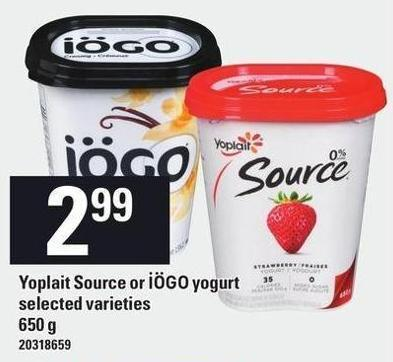 Yoplait Source Or Iögo Yogurt - 650 g