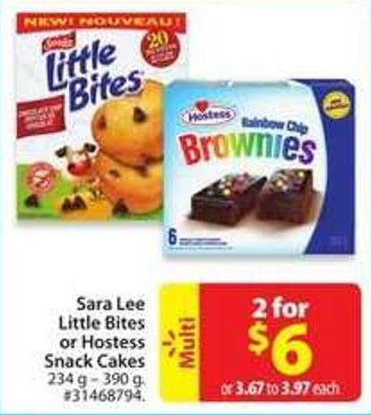 Sara Lee Little Bites or Hostess Snack Cakes