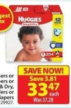 Huggies Snug & Dry - Little Snugglers or Little Movers Econo Diapers