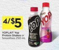 Yoplait Yop Protein Shakes or Smoothies 250 mL - 40 Air Miles Bonus Miles