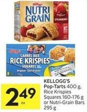 Kellogg's Pop-tarts 400 g - Rice Krispies Squares 160-176 g or Nutri-grain Bars 295 g