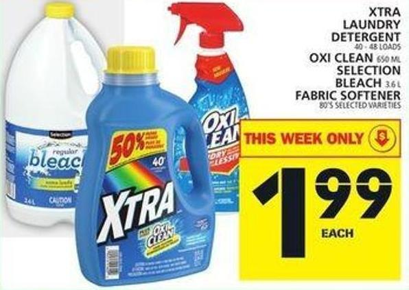 Xtra Laundry Detergent Or Oxi Clean Or Bleach Fabric Softener