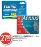 Aerius (30's) or Claritin (40's-50's) Allergy Products