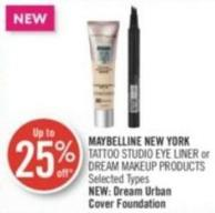 Maybelline New York Tattoo Studio Eye Liner or Dream Makeup Products