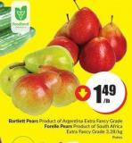 Bartlettpears Product of Argentina Extra Fancy Grade Forelle Pears Product of South Africa Extra Fancy Grade 3.28/kg