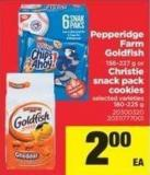 Pepperidge Farm Goldfish - 156-227 G Or Christie Snack Pack Cookies - 180-225 g
