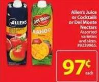 Allen's Juice or Cocktails or Del Monte Nectars