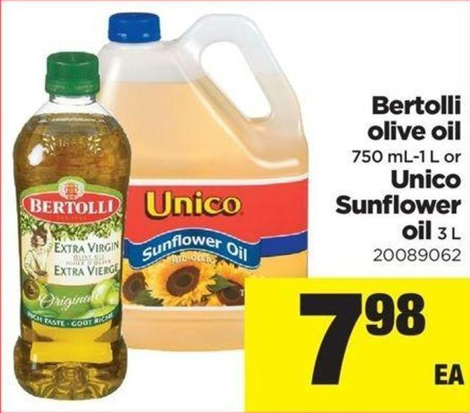 Bertolli Olive Oil - 750 Ml-1 L Or Unico Sunflower Oil - 3 L