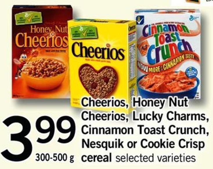 Cheerios - Honey Nut Cheerios - Lucky Charms - Cinnamon Toast Crunch - Nesquik Or Cookie Crisp Cereal - 300-500 G