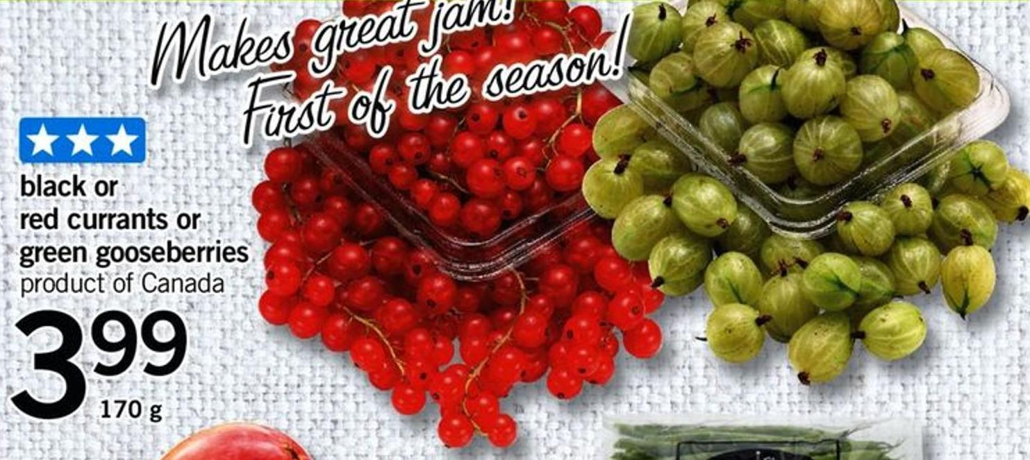 Black Or Red Currants Or Green Gooseberries - 170 G$3.99