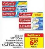 Colgate 360° 2-pack - Premium 3-pack or Super Premium 2-pack Toothbrushes