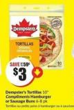 Dempster's Tortillas 10in Compliments Hamburger or Sausage Buns 6-8 Pk