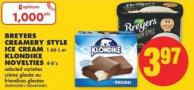 Breyers Creamery Style Ice Cream - 1.66 L or Klondike Novelties - 4-6's