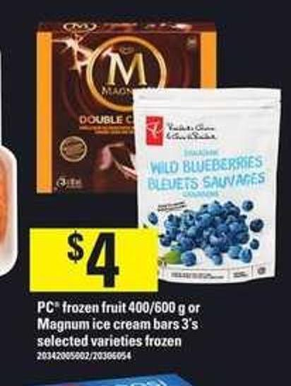 PC Frozen Fruit - 400/600 G Or Magnum Ice Cream Bars - 3's