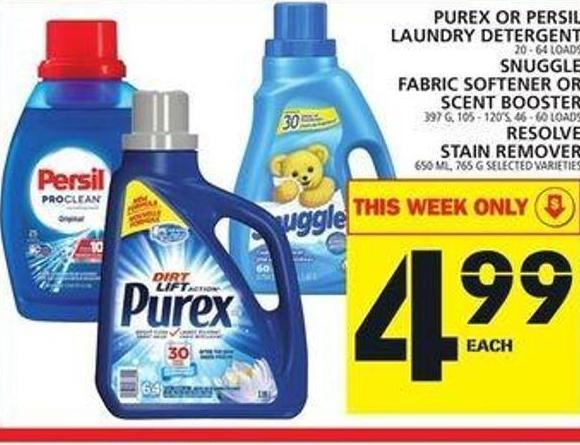 Purex Or Persil Laundry Detergent Or Snuggle Fabric Softener Or Scent Booster Or Resolve Stain Remover