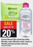 Garnier Natural Skin Cleansing Cloths - Micellar Water - Micellar Wipes - Masks Or Ultralift