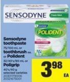 Sensodyne Toothpaste - 75/100 Ml Or Toothbrush - Ea. Or Polident - 32/40's/90 Ml Or Poligrip - 40's/40 G