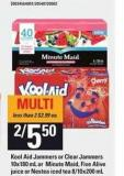 Kool Aid Jammers Or Clear Jammers - 10x180 mL Or Minute Maid - Five Alive Juice Or Nestea Iced Tea - 8/10x200 mL