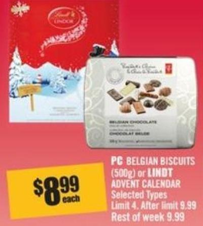 PC Belgian Biscuits (500g) or Lindt Advent Calendar