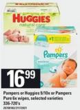Pampers Or Huggies 9/10x Or Pampers Pure 6x Wipes - 336-720's