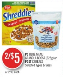 PC Blue Menu Granola Boost (325 G) or Post Cereals