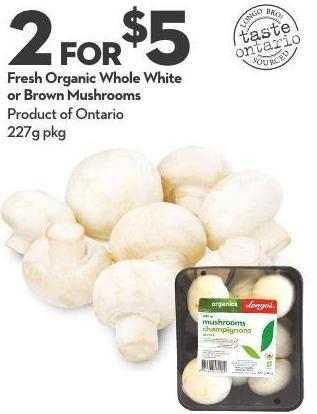 Fresh Organic Whole White or Brown Mushrooms